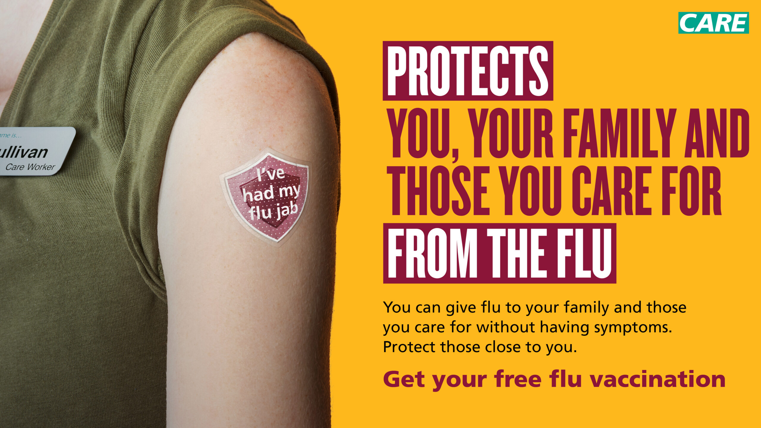Government post advising people to get a flu vaccination.