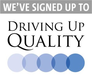 Signed up to Driving Up Quality logo