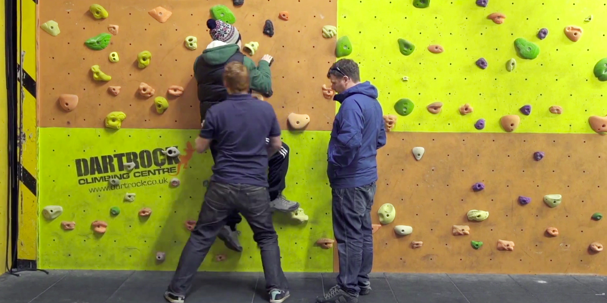 Hamish and Ricky and the climbing wall