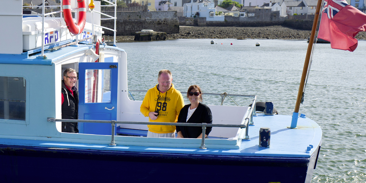 Chris enjoying a day in Plymouth on the Cremyll Ferry with his support team